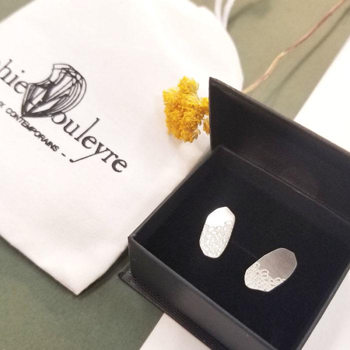 Boucles d'oreilles argent poinçonnées Lyon artisanat création fabrication bijou contemporain