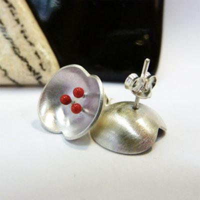 Boucles d'oeilles argent et résine artisanat bijouterie bijou création lyon