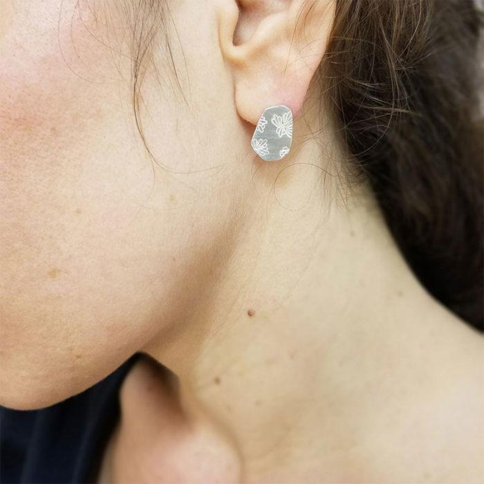 Boucles d'oreilles argent iceberg fleuri création bijou lyon